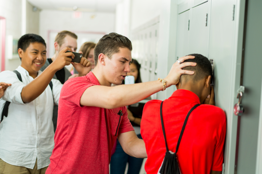 High school students being bullied.